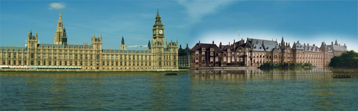 Photograph and painting of the English and Dutch houses of parliament